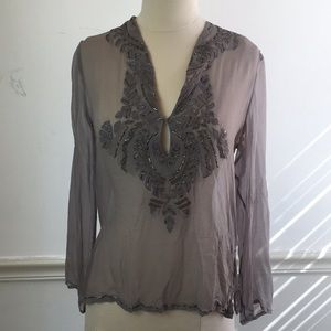 Tops - Sheer SILK GREY BEADED Embroidered top Small